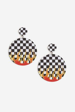 Checkboard Flame Earrings | Topshop