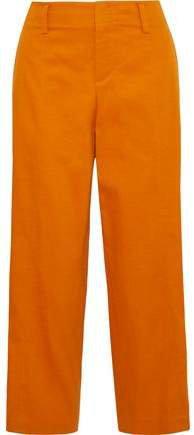 Sienna Cropped Cotton-blend Twill Wide-leg Pants