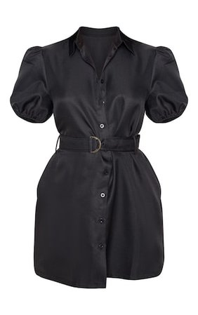 Black Puff Sleeve Belted Shirt Dress | PrettyLittleThing