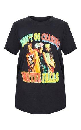 Black Tlc Waterfalls Printed T Shirt | Tops | PrettyLittleThing USA