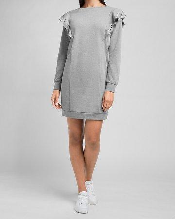 Eyelet Ruffle Sweatshirt Dress