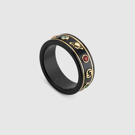 18k Yellow Gold / Black Icon Ring With Gemstones | GUCCI® PT
