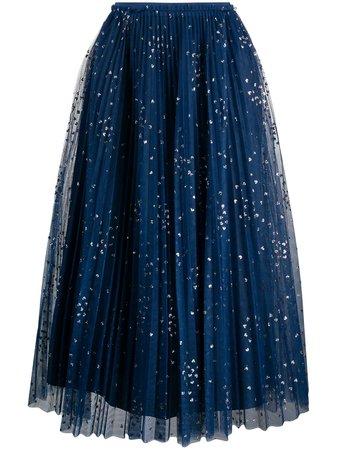 RED Valentino Glitter Detail Pleated Skirt - Farfetch