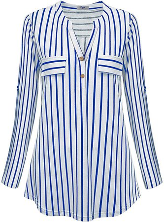 Cestyle Striped Tunics for Women 3/4 Sleeve, Ladies Split Neck A Line Flowy Pleated Blouse Loose Tee Shirts Tops to wear with Leggings Business Casual Tshirts with Pockets Embellished Blue X-Large at Amazon Women's Clothing store