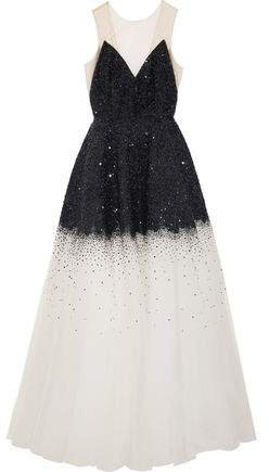 Sequined Degrade Tulle Gown