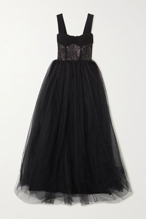Black Crepe, lace and tulle gown | RASARIO | NET-A-PORTER