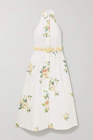 Kirra Linen Halterneck Midi Dress - Ivory