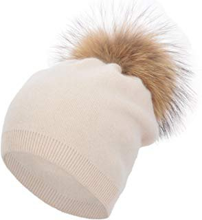 Women Knit Wool Beanie - Winter Solid Cashmere Ski Hats Real Raccoon Fur Pom Pom (Purple) at Amazon Women's Clothing store: