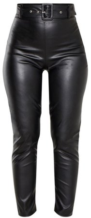 pretty little thing Black Faux Leather Belted Skinny Pants