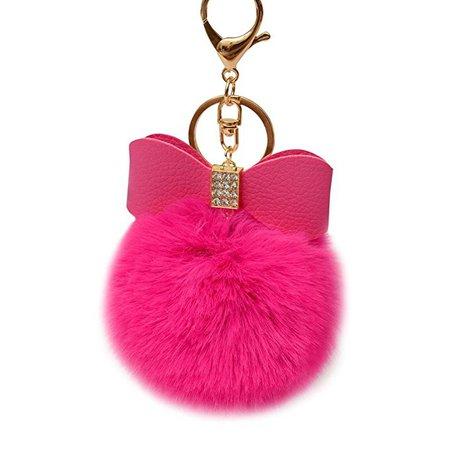 SUPPION Watermelon Rabbit Fur Ball Keychain Bag Plush Car Key Ring Car Key Pendant