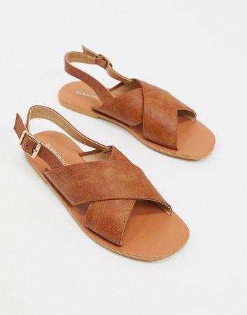 Glamorous flat sandal in tan | ASOS