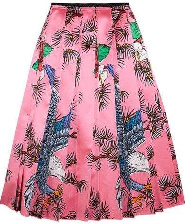 Gucci - Pleated Printed Silk-satin Midi Skirt - Pink