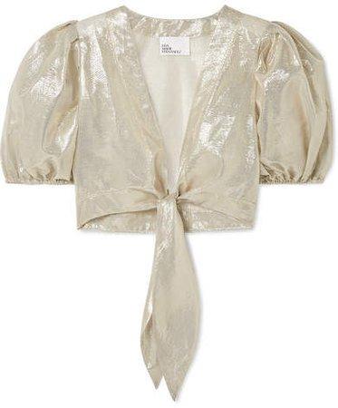 Pouf Cropped Tie-front Cotton-blend Lamé Top - Gold