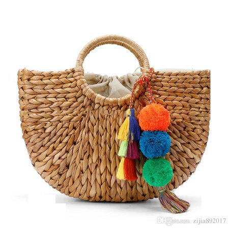 Beach Bag Straw Basket Totes Bag Bucket Large Big Summer Bags With Tassels Pom Pom Women Natural Handbag 2017 New High Quality C95 Personalized Bags Fashion Handbags From Zijia892017, $44.89| DHgate.Com