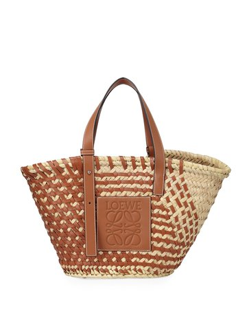 Loewe Large Woven Leather & Palm Tote Bag | Neiman Marcus
