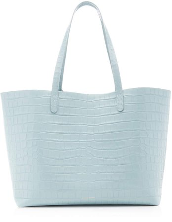 Croc-Embossed Leather Tote Bag