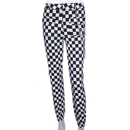 InstaHot Plaid Pencil Casual Jogger Pant Women Pockets Full Length Chain Polyester Pants Female Loose Checkered Pantalon Fashion-in Pants & Capris from Women's Clothing on Aliexpress.com | Alibaba Group