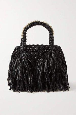 Tasseled Faux Pearl-embellished Raffia Tote - Black