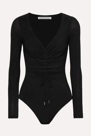 Cut-out Ruched Stretch-jersey Thong Bodysuit - Black