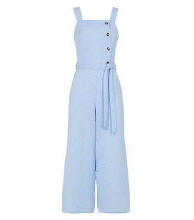 Pale Blue Herringbone Button Side Jumpsuit | New Look