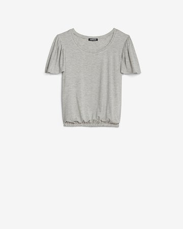 Heathered Banded Flutter Sleeve Tee | Express