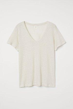 Linen Jersey Top - Beige