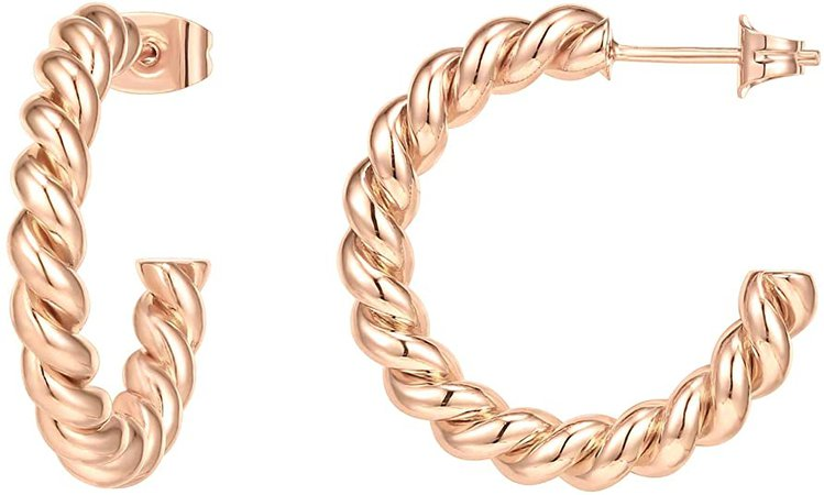 Amazon.com: PAVOI 14K Gold Plated 925 Sterling Silver Twisted Rope Round Hoop Earrings in Rose Gold: Jewelry