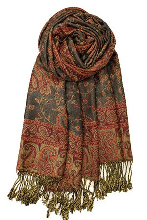 Achillea Soft Silky Reversible Paisley Pashmina Shawl Wrap Scarf w/Fringes (Dark Olive) at Amazon Women's Clothing store