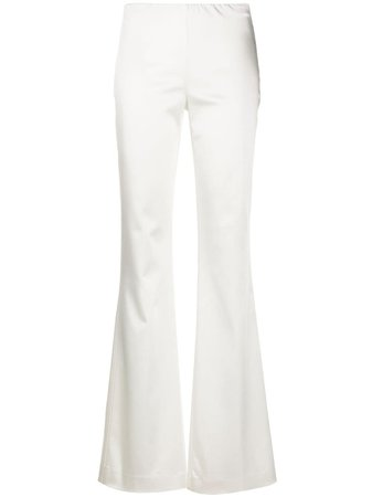 P.a.r.o.s.h. Satin Flared Trousers ALICED230378 White | Farfetch