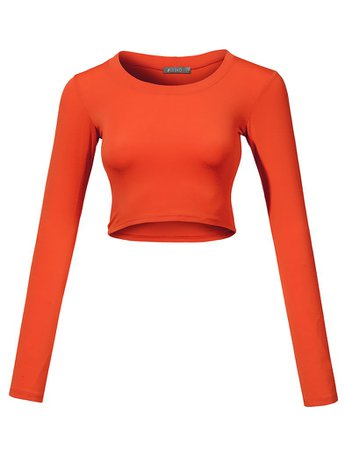 Lightweight Long Sleeve Scoop Neck Crop Top | LE3NO