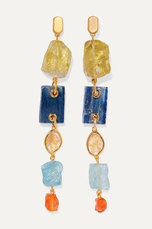 + Caroline Issa gold vermeil multi-stone earrings