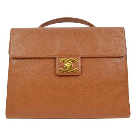Chanel Cognac Leather Carryall Business Top Handle Travel Brief Briefcase Bag For Sale at 1stdibs