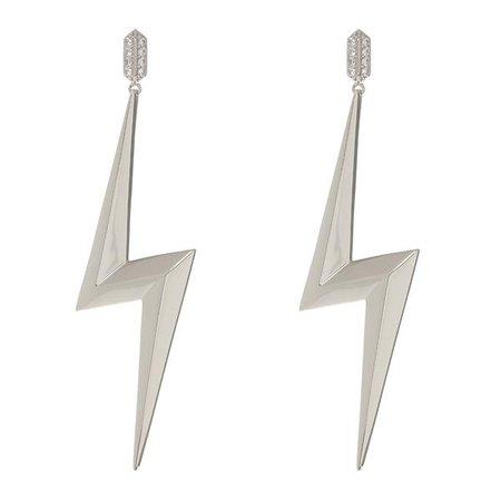 silver lightning bolt earrings