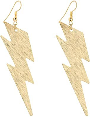 """Amazon.com: IDB Delicate Filigree Dangle Lightning Bolt Drop Hook Earrings   Approx 3 5/8"""" (3.62"""" / 9.2cm) length x 25/32"""" (0.78"""" / 2cm) wide -   available in silver and gold tones (Gold tone): Clothing"""