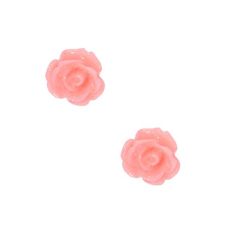 Sterling Silver Glitter Rose Stud Earrings - Pink | Claire's US