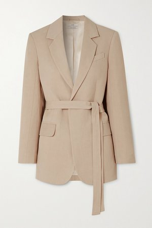 Taupe Belted woven blazer | Co | NET-A-PORTER