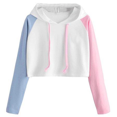 Pink & Blue Crop Top Sweatshirt – The Littlest Gift Shop