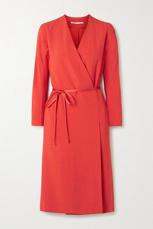 Crepe Wrap Dress - Red