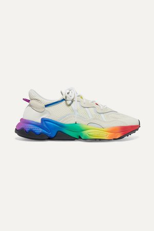 Ozweego Pride Suede-trimmed Mesh Sneakers - White