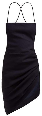 Saudade Asymmetric Wool Crepe Mini Dress - Womens - Navy