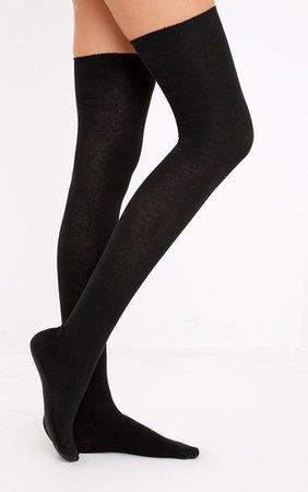 Basic Black Over the Knee Socks | Accessories | | PrettyLittleThing