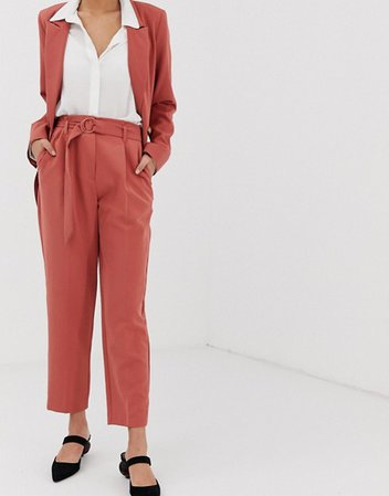 Warehouse tapered pants with belt in pink | ASOS