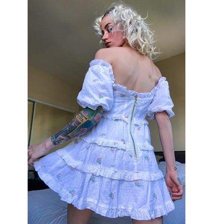 For Love & Lemons Rainey Off The Shoulder Mini Dress   Dolls Kill
