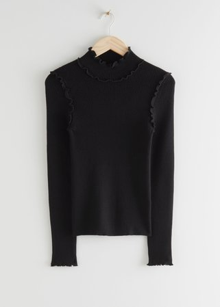 Fitted Mock Neck Frill Rib Sweater - Black - Sweaters - & Other Stories