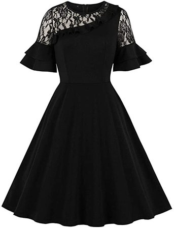 Wellwits Women's Lace Panel Ruffle Flare Sleeves Witchy Halloween Retro Dress at Amazon Women's Clothing store