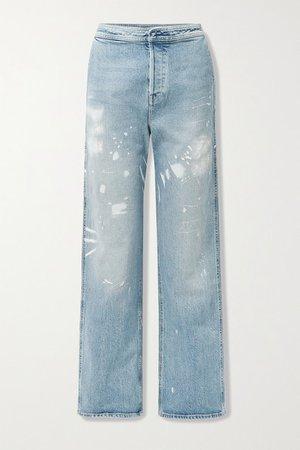 Manon Printed High-rise Wide-leg Jeans - Light denim