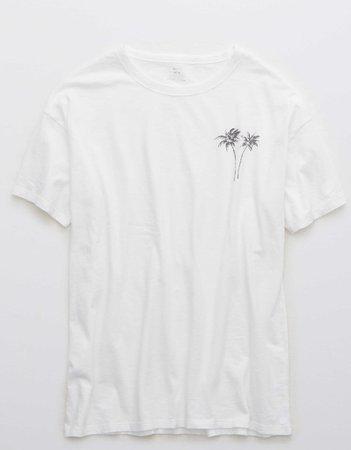 Aerie Boyfriend Distressed Oversized T-Shirt white
