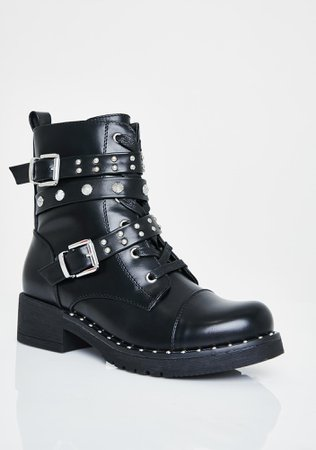 Studded Buckle Combat Boots Vegan Leather Lace Up Black | Dolls Kill