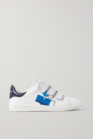 Brownsy Logo-print Embroidered Leather Sneakers - White