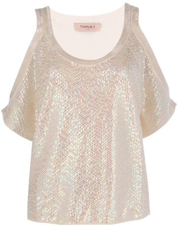 Twin Set sequinned top